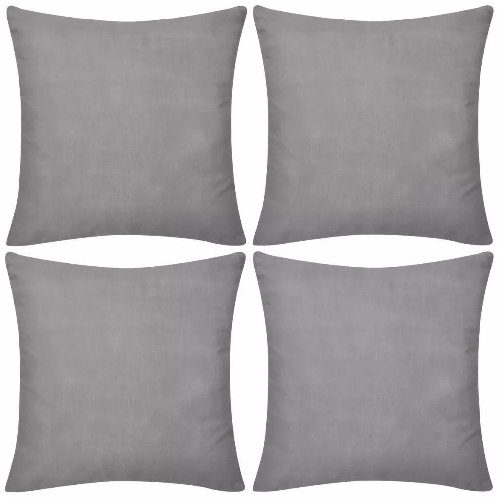 Kussenhoezen katoen 50 x 50 cm grijs 4 stuks