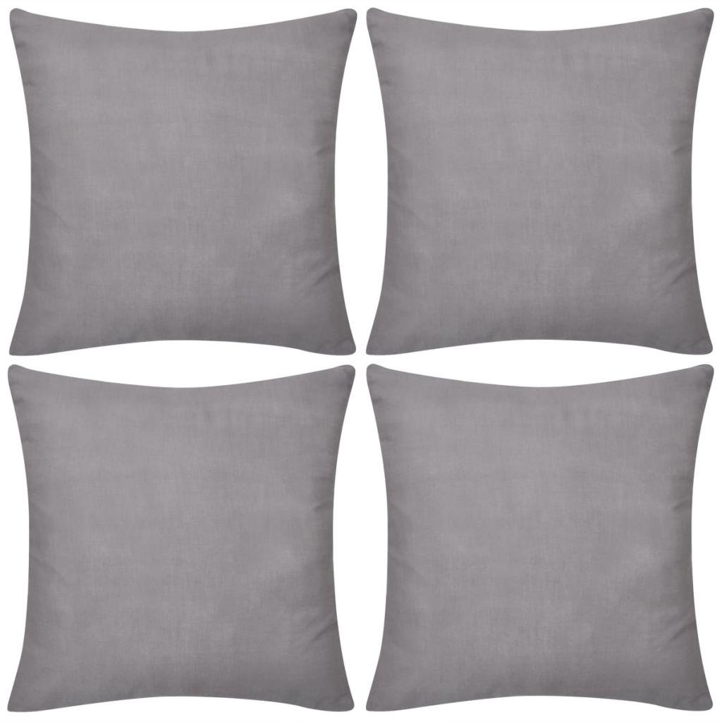 Kussenhoezen katoen 80 x 80 cm grijs 4 stuks