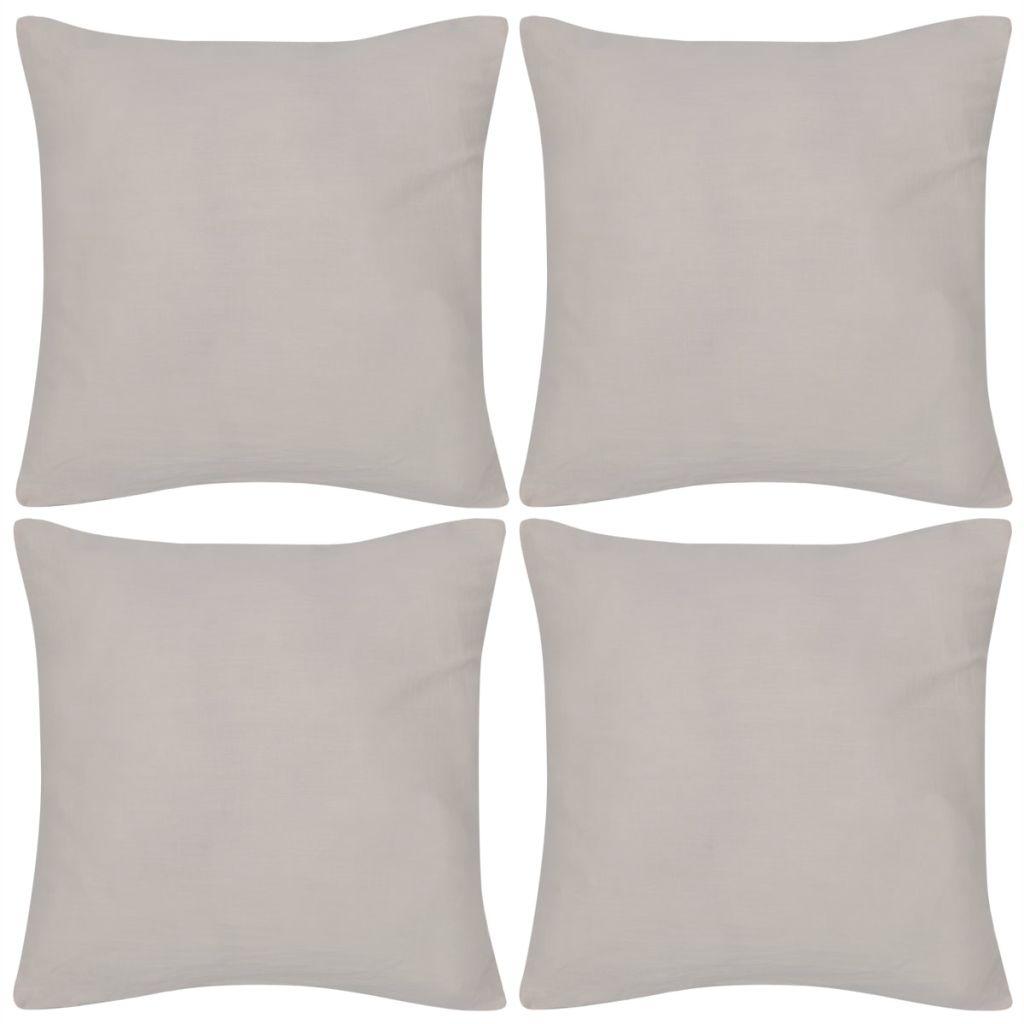 Kussenhoezen katoen 50 x 50 cm beige 4 stuks