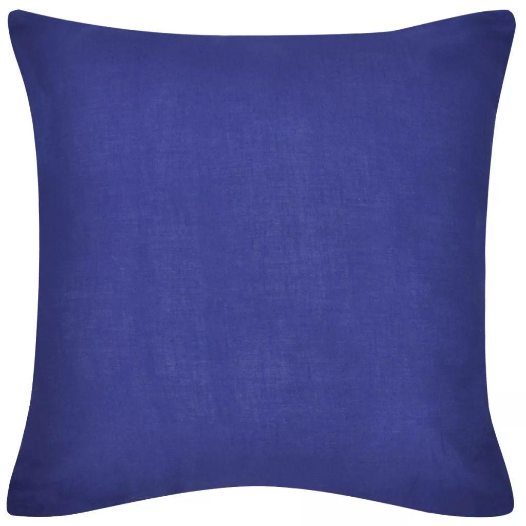 Kussenhoezen katoen 80 x 80 cm blauw 4 stuks