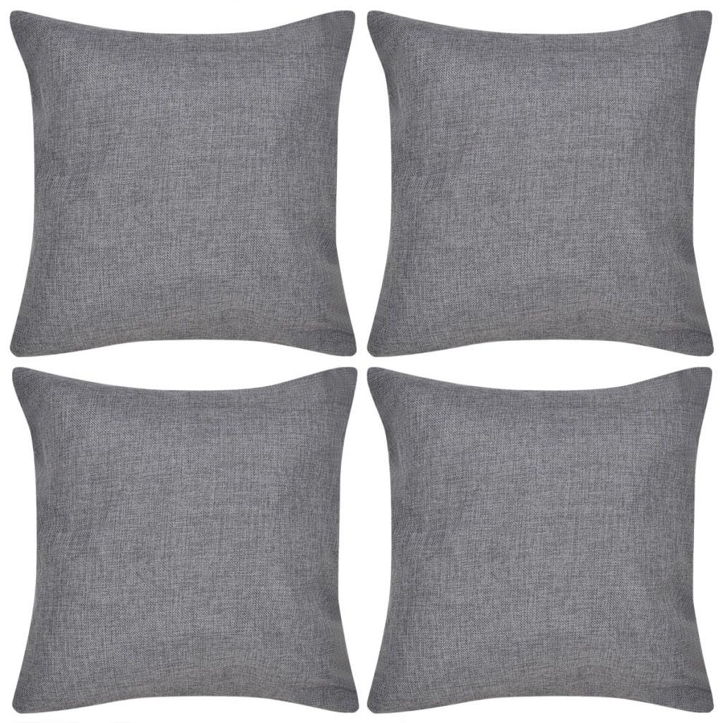 Kussenhoezen linnen look 50 x 50 cm antraciet 4 stuks