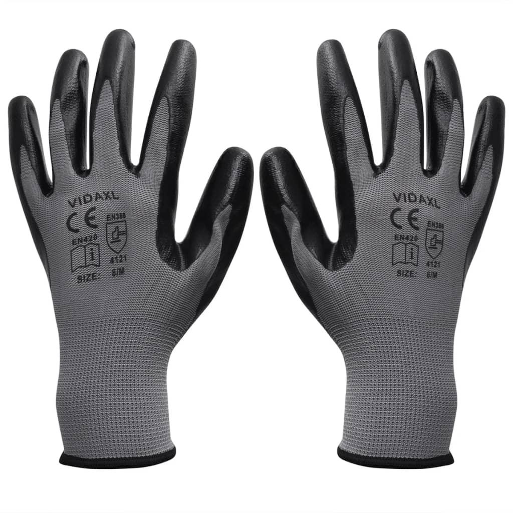 Werkhandschoenen nitrilrubber 24 paar grijs en zwart maat 9/L