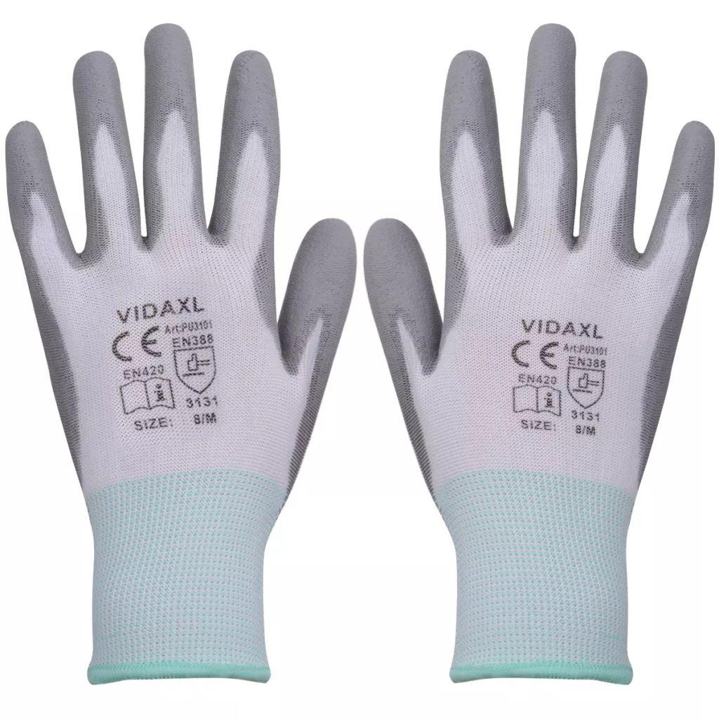 Werkhandschoenen PU 24 paar wit en grijs maat 8/M