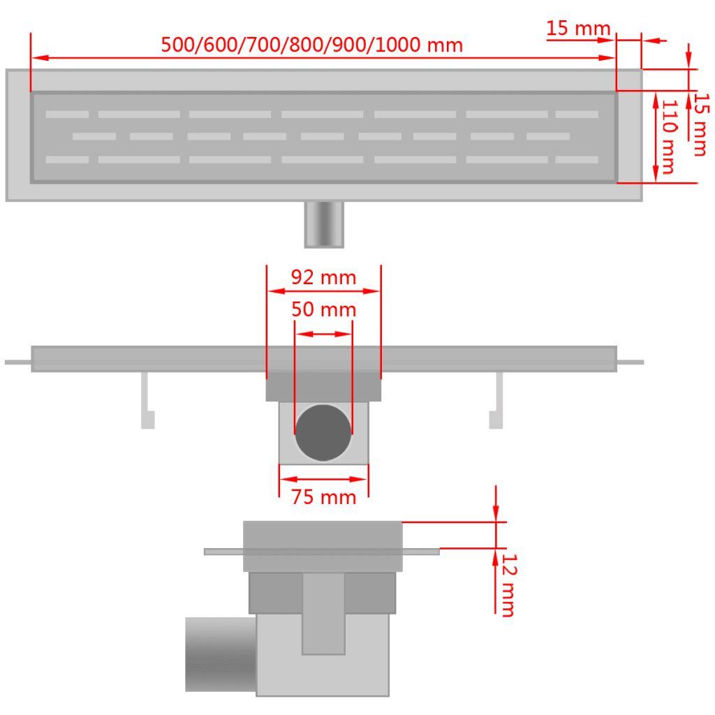 Douchegoot rechthoekig 530x140mm roestvrij staal