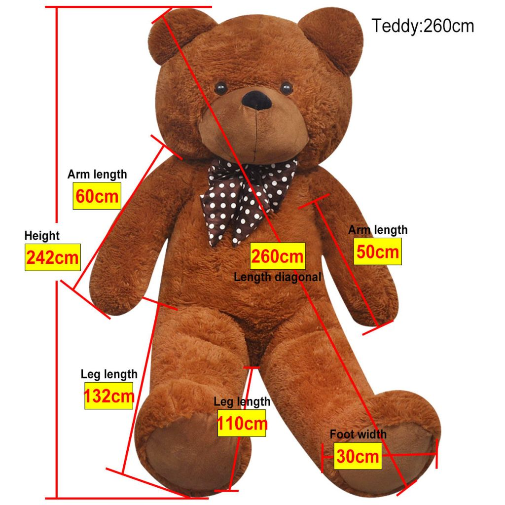Knuffelbeest teddybeer 260 cm pluche bruin