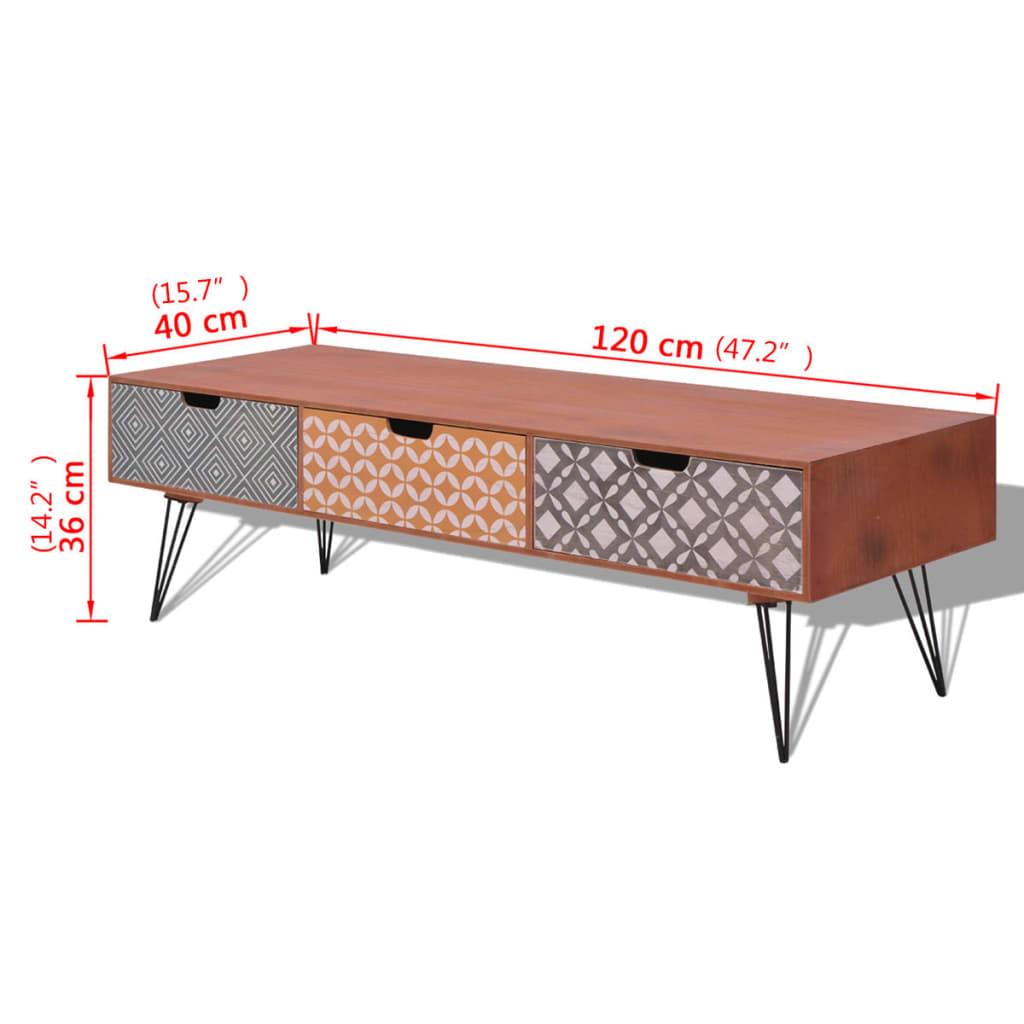 Tv-meubel met 3 lades 120x40x36 cm bruin