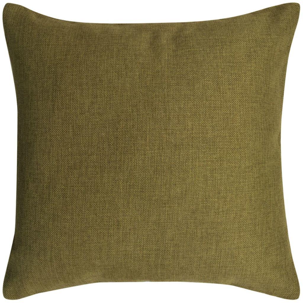 Kussenhoezen 4 stuks linnen look groen 40x40 cm