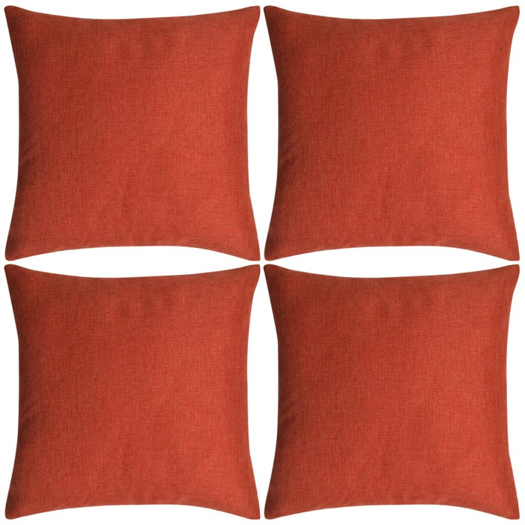 Kussenhoezen 4 stuks linnen look terracotta 40x40 cm