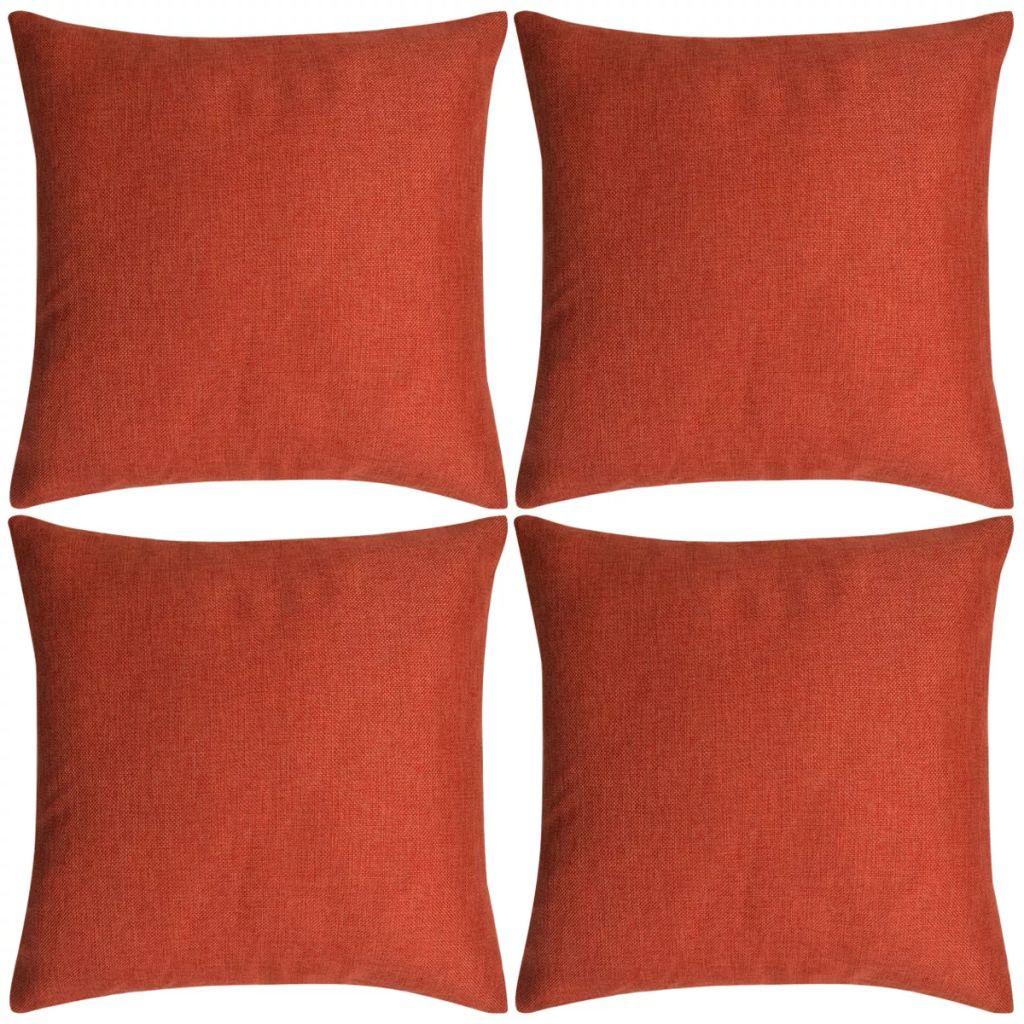 Kussenhoezen 4 stuks linnen look terracotta 50x50 cm