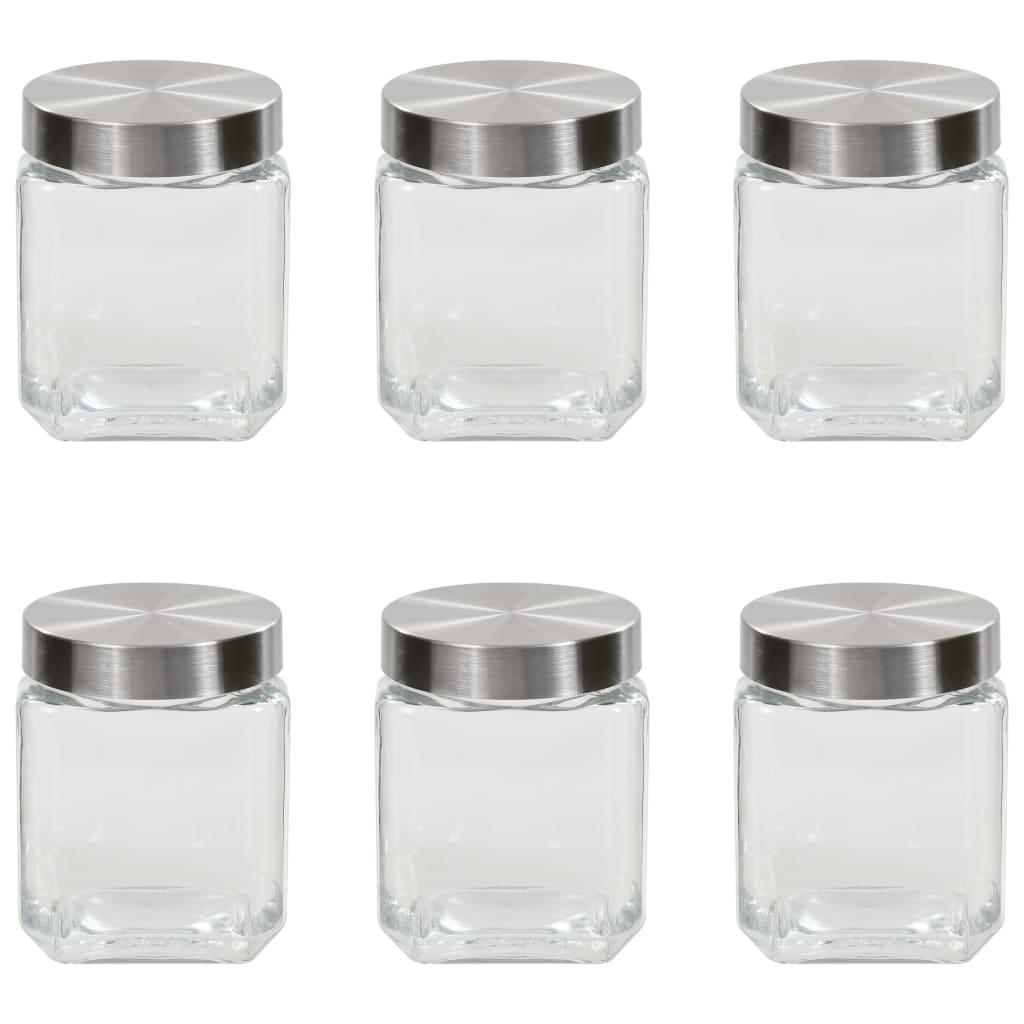Opbergpotten met zilverkleurig deksel 6 st 1.200 ml