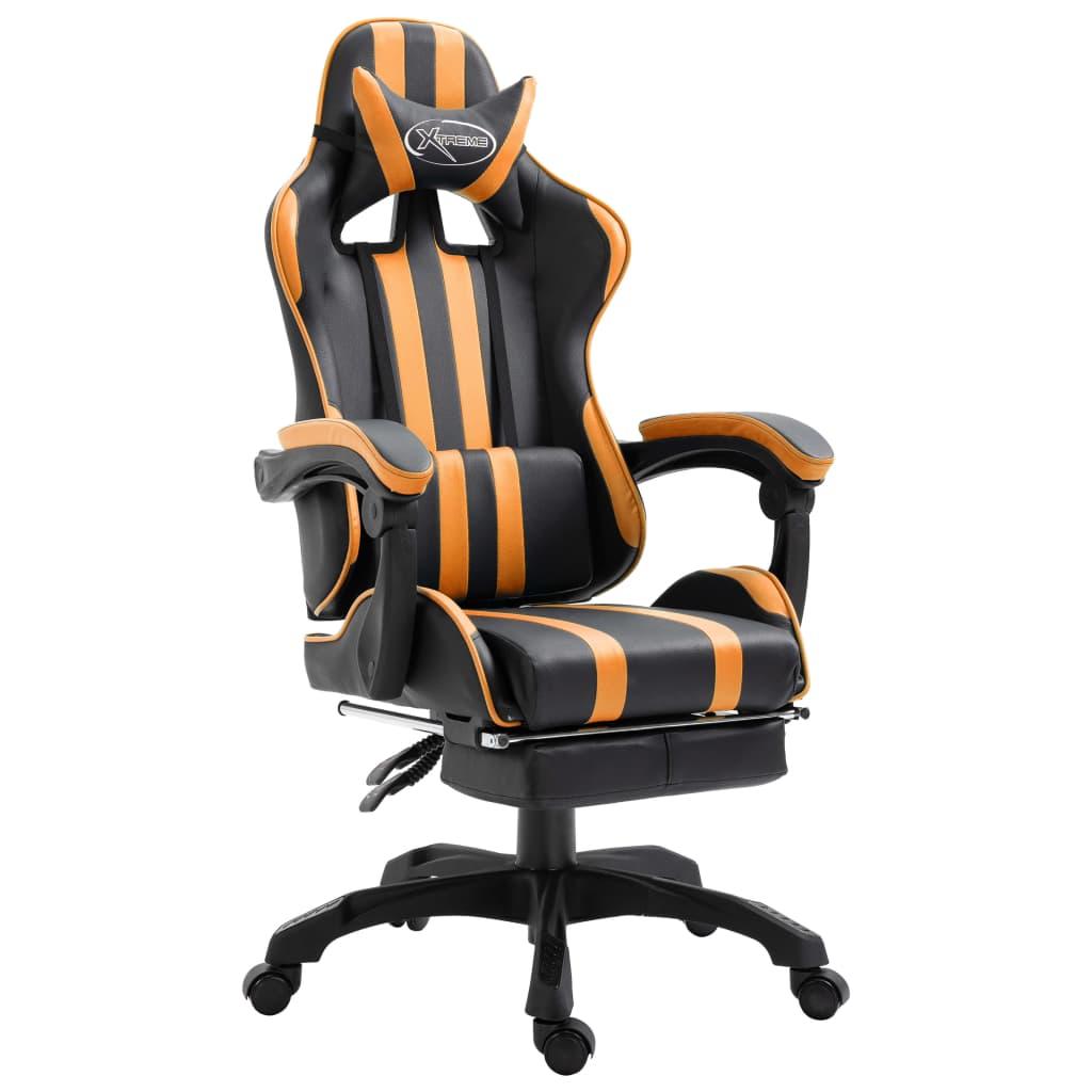 Gamingstoel met voetensteun kunstleer oranje