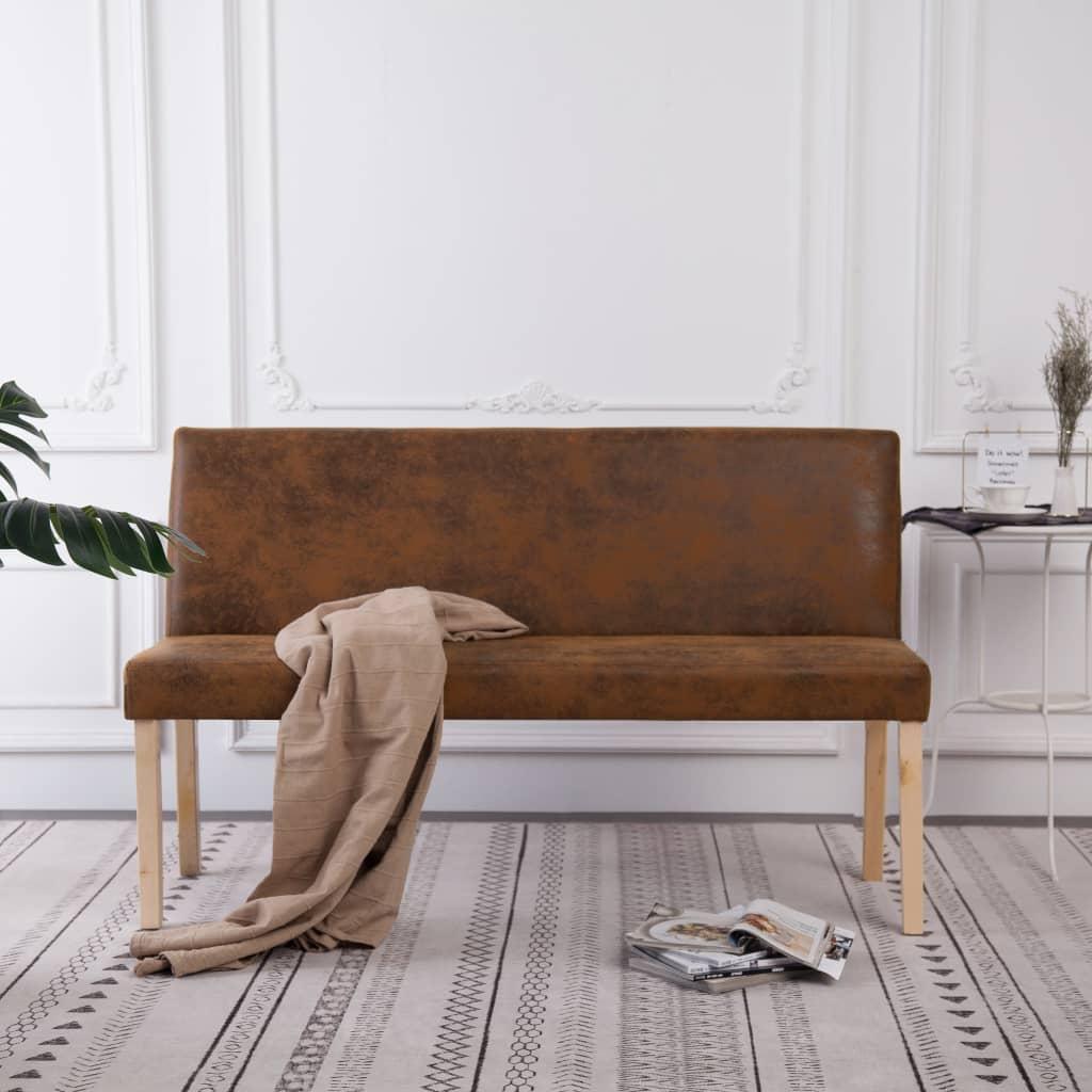 Bankje 139,5 cm kunstsude bruin