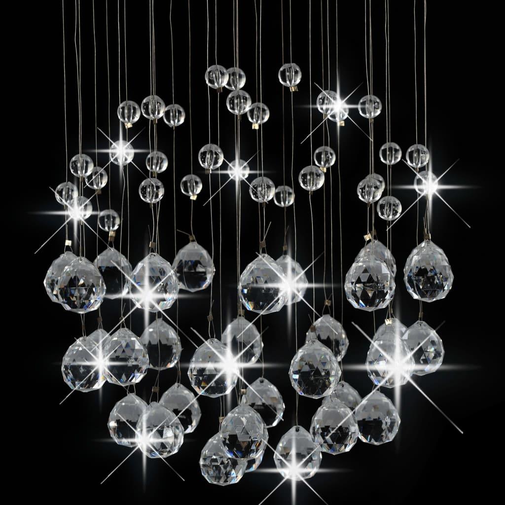 Plafondlamp met kristallen kralen rond 3xG9 zilverkleurig
