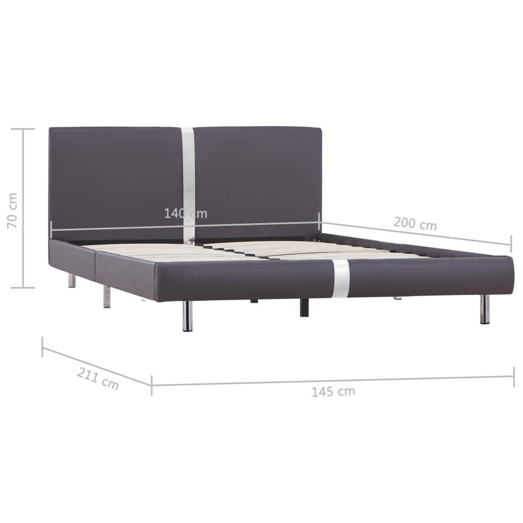 Bedframe kunstleer grijs 140x200 cm