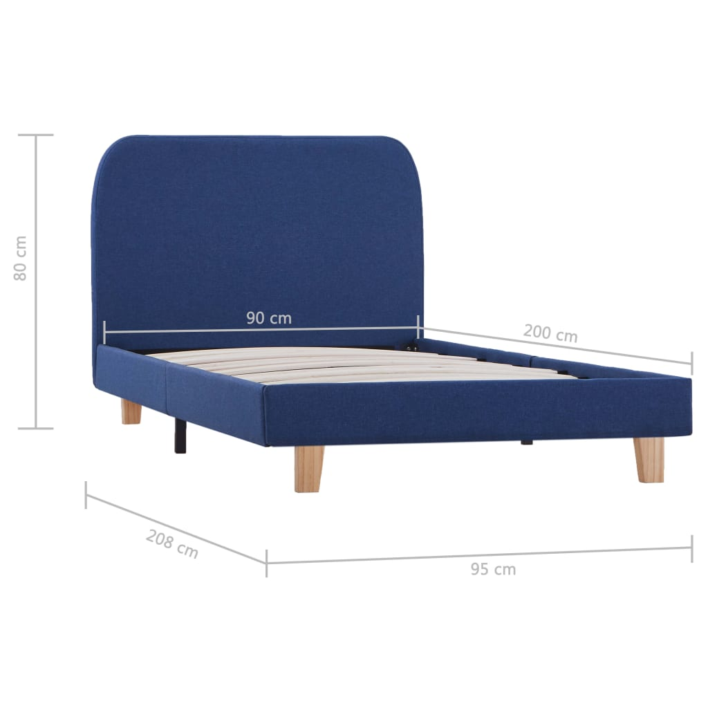 Bedframe stof blauw 90x200 cm