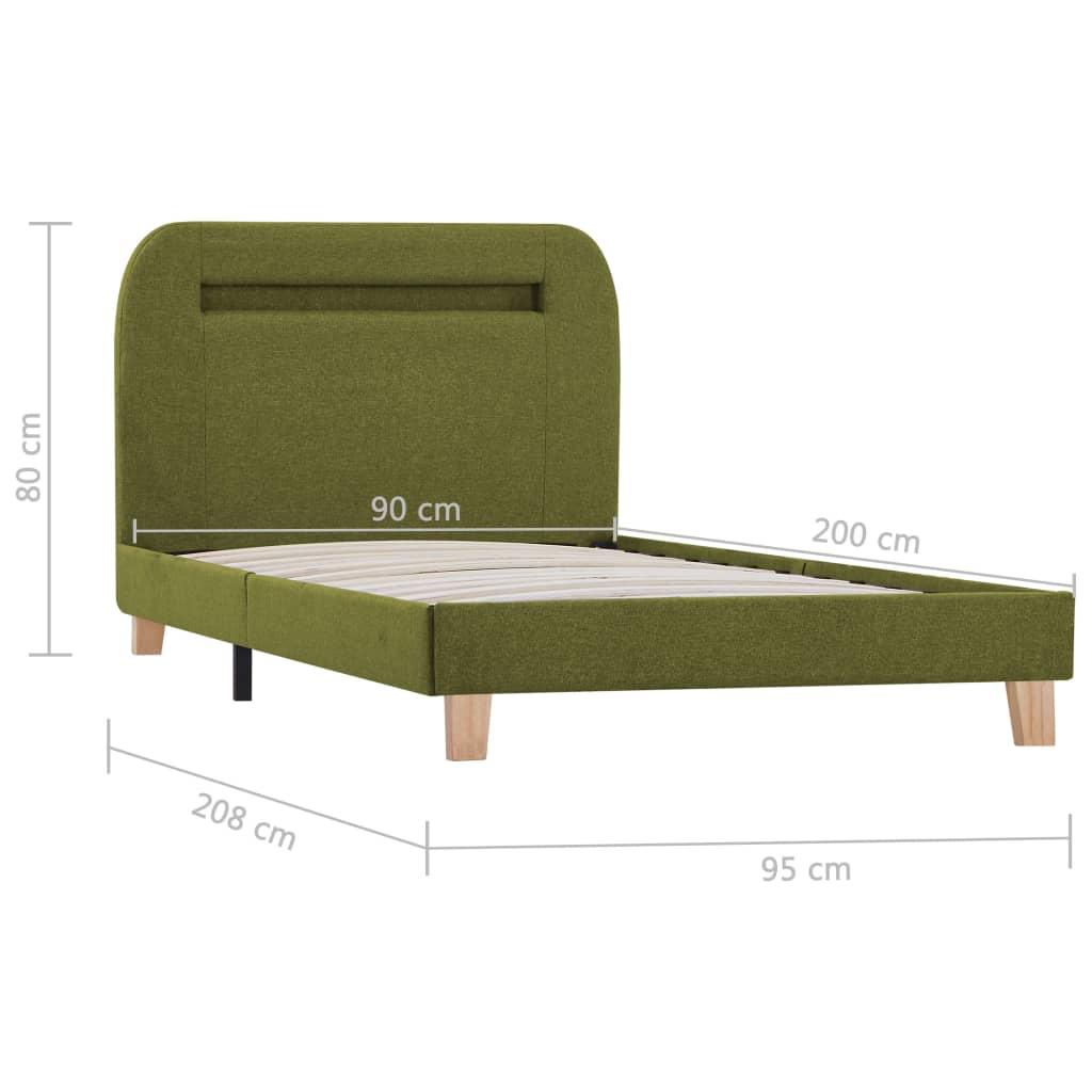 Bedframe met LED stof groen 90x200 cm