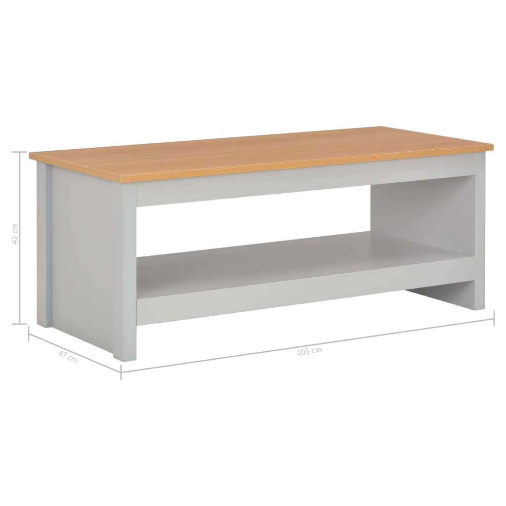 Salontafel 105x47x42 cm grijs