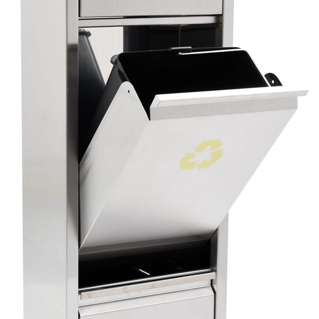 Recycle prullenbak 3x8 L roestvrij staal zilverkleurig
