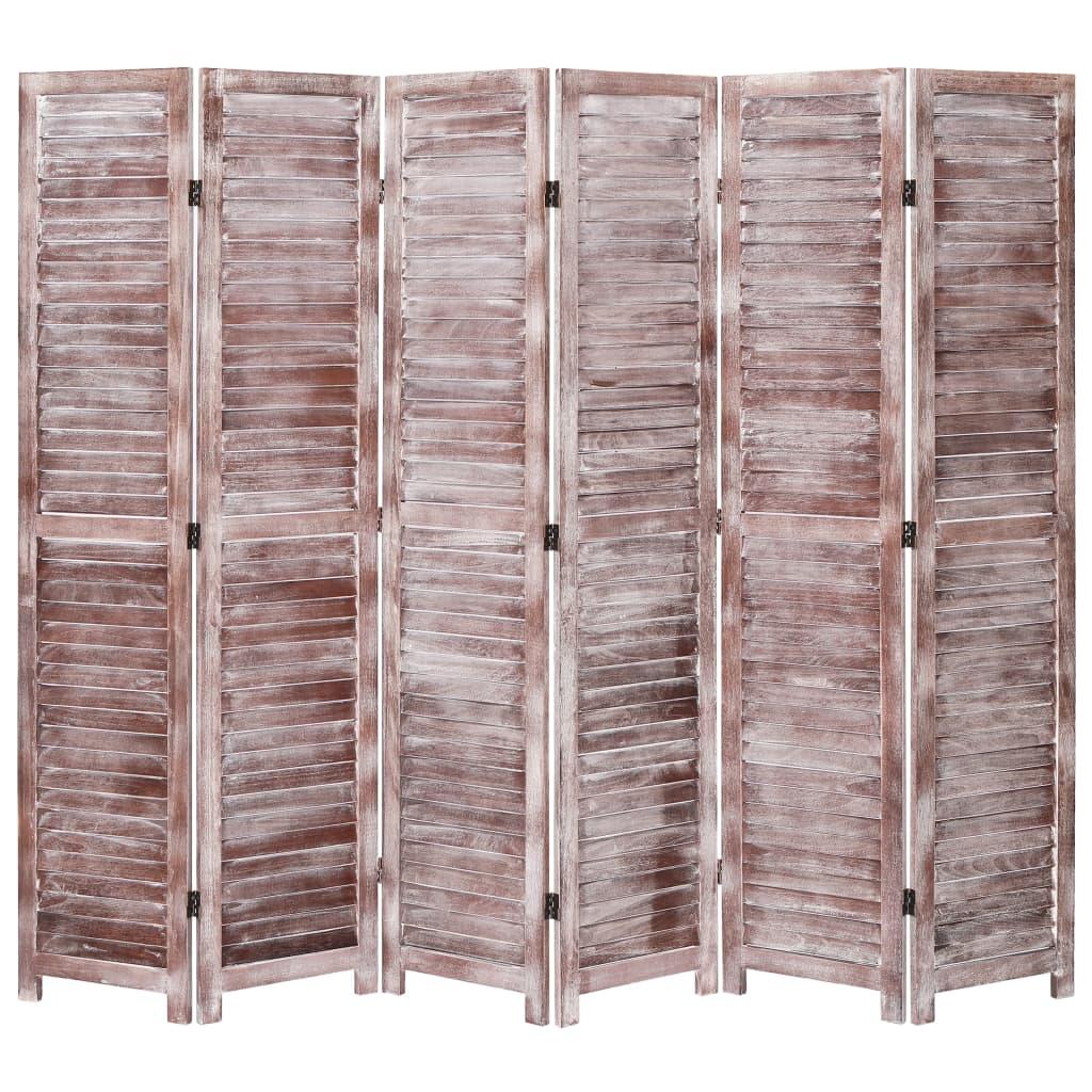 Kamerscherm met 6 panelen 210x165 cm hout bruin