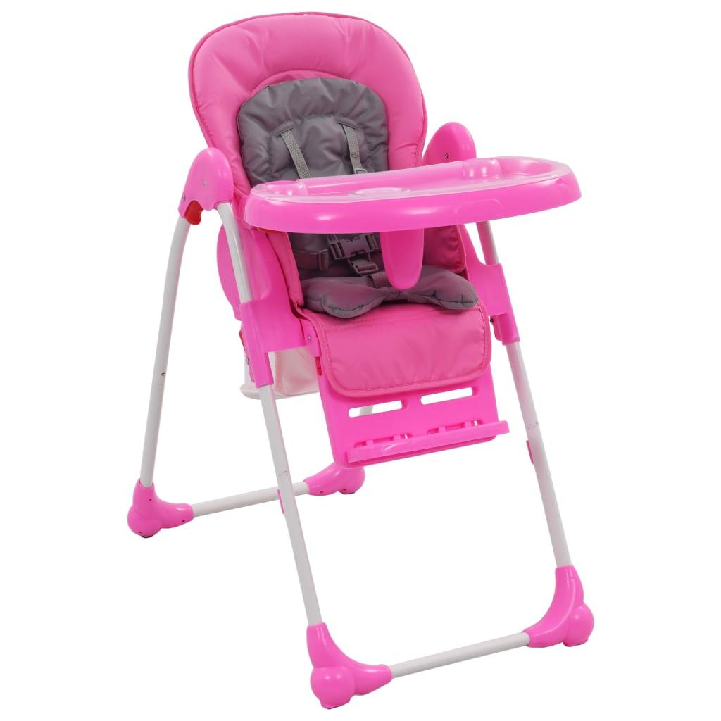 Kinderstoel hoog roze en grijs