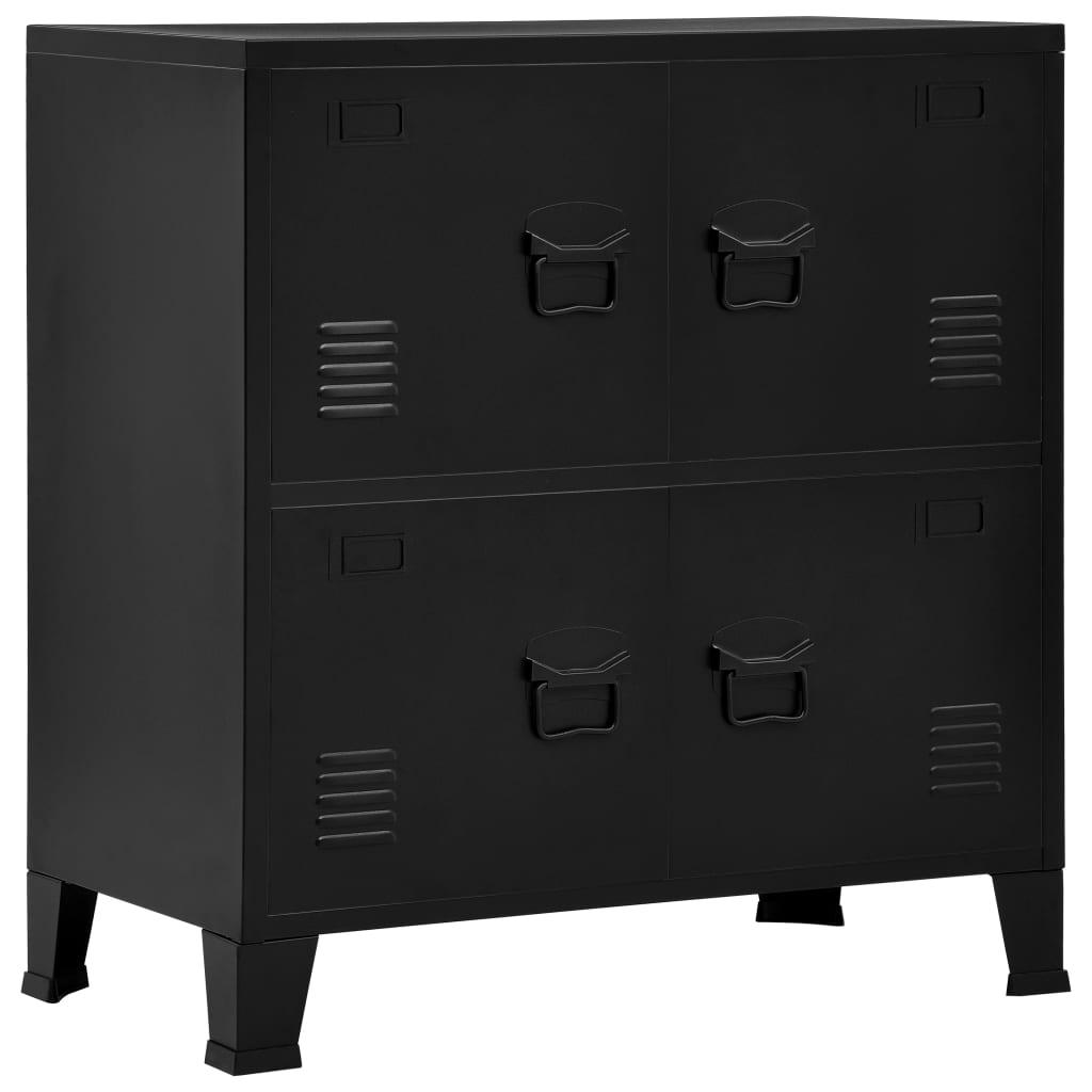 Archiefkast met 4 deuren industrieel 75x40x80 cm staal zwart