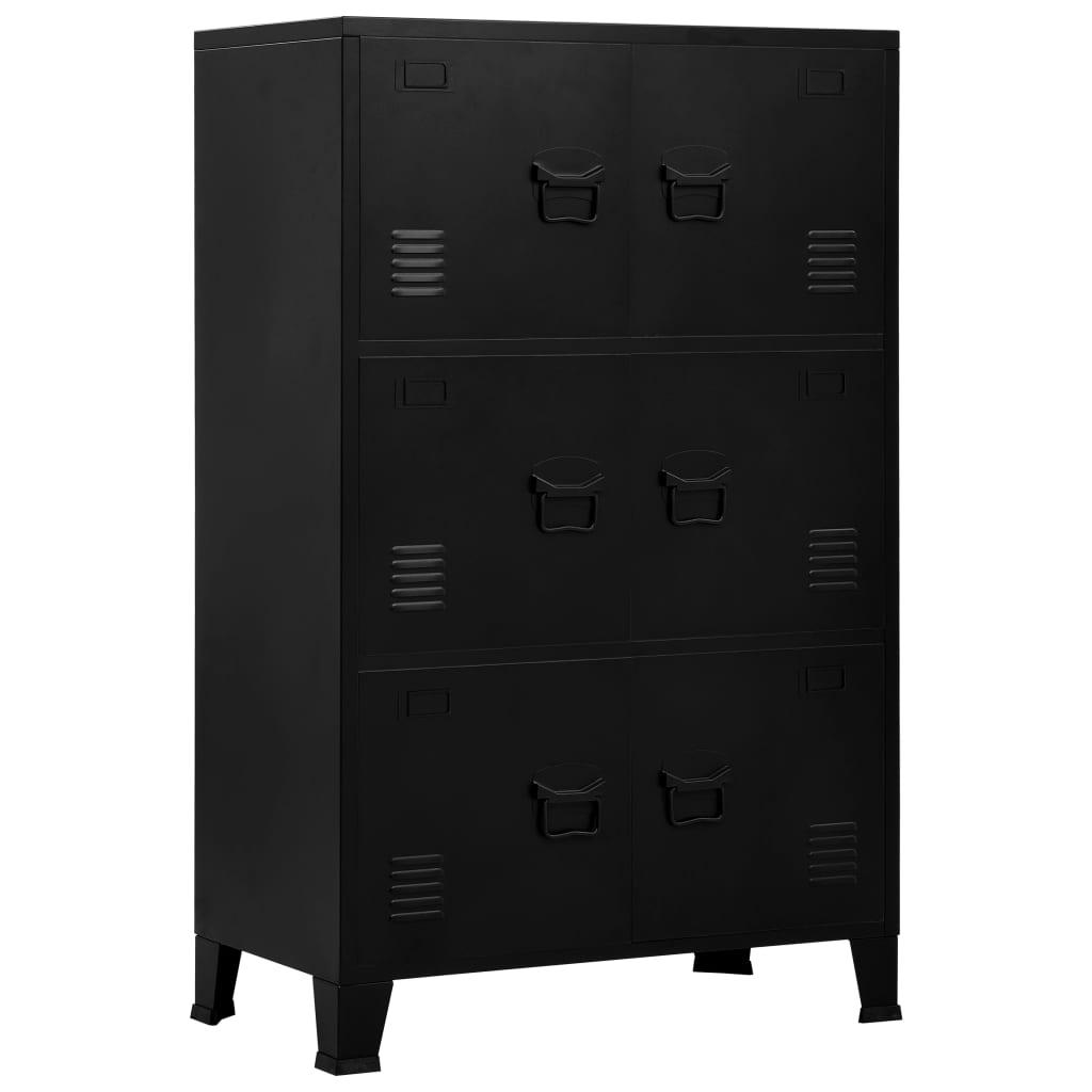 Archiefkast met 6 deuren industrieel 75x40x120 cm staal zwart