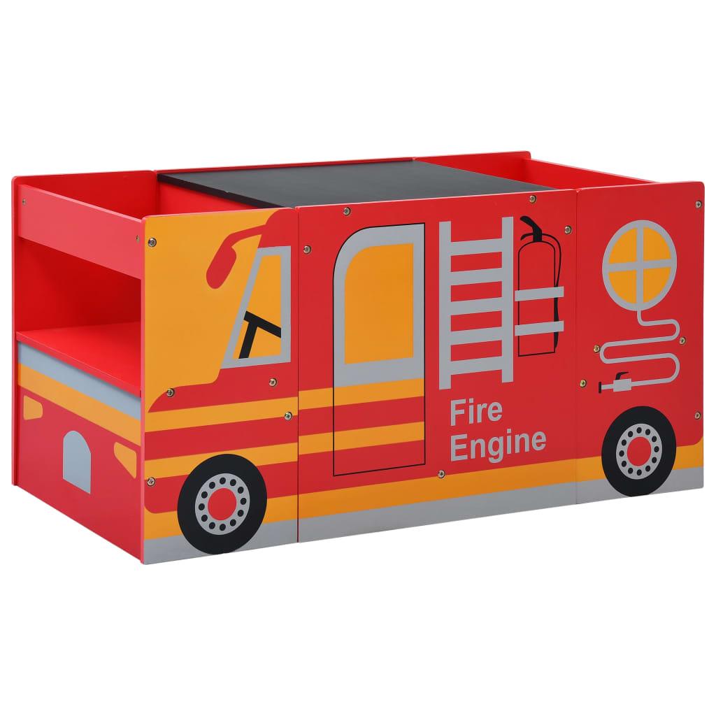 3-delige Kinderstoelen- en tafelset brandweerwagenontwerp hout