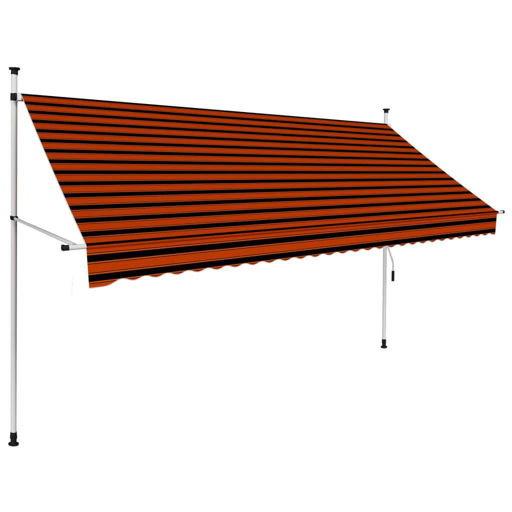 Luifel handmatig uittrekbaar 300 cm oranje en bruin