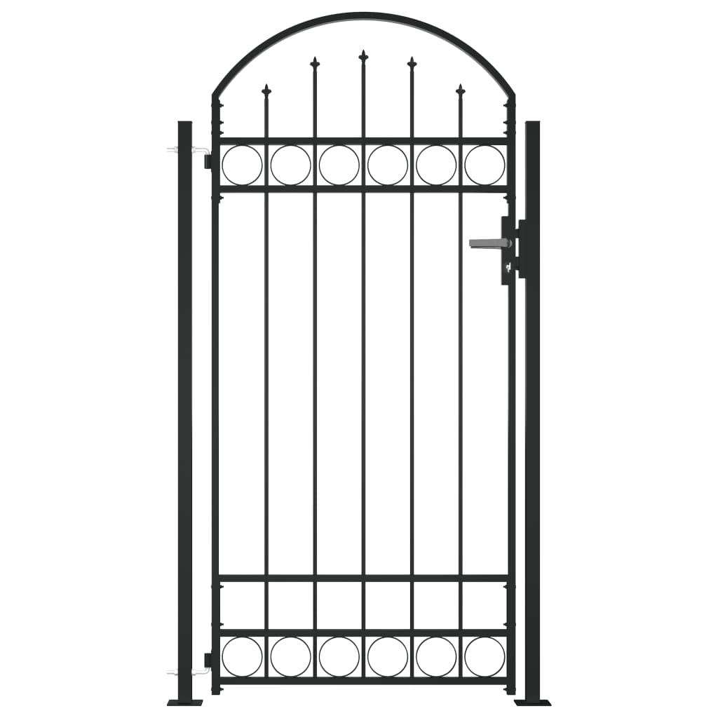 Poort met gebogen bovenkant en 2 palen 105x204 cm zwart