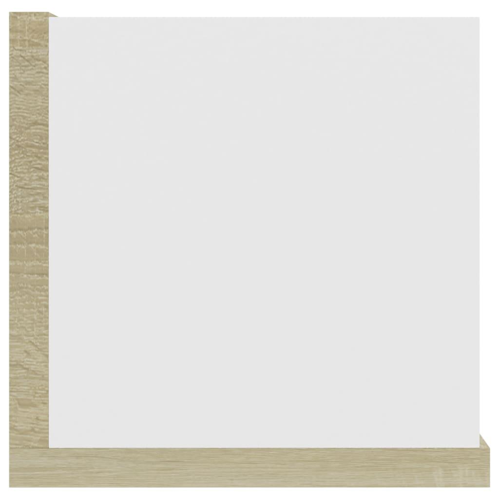 Cd-wandschap 100x18x18 cm spaanplaat wit en sonoma eikenkleurig
