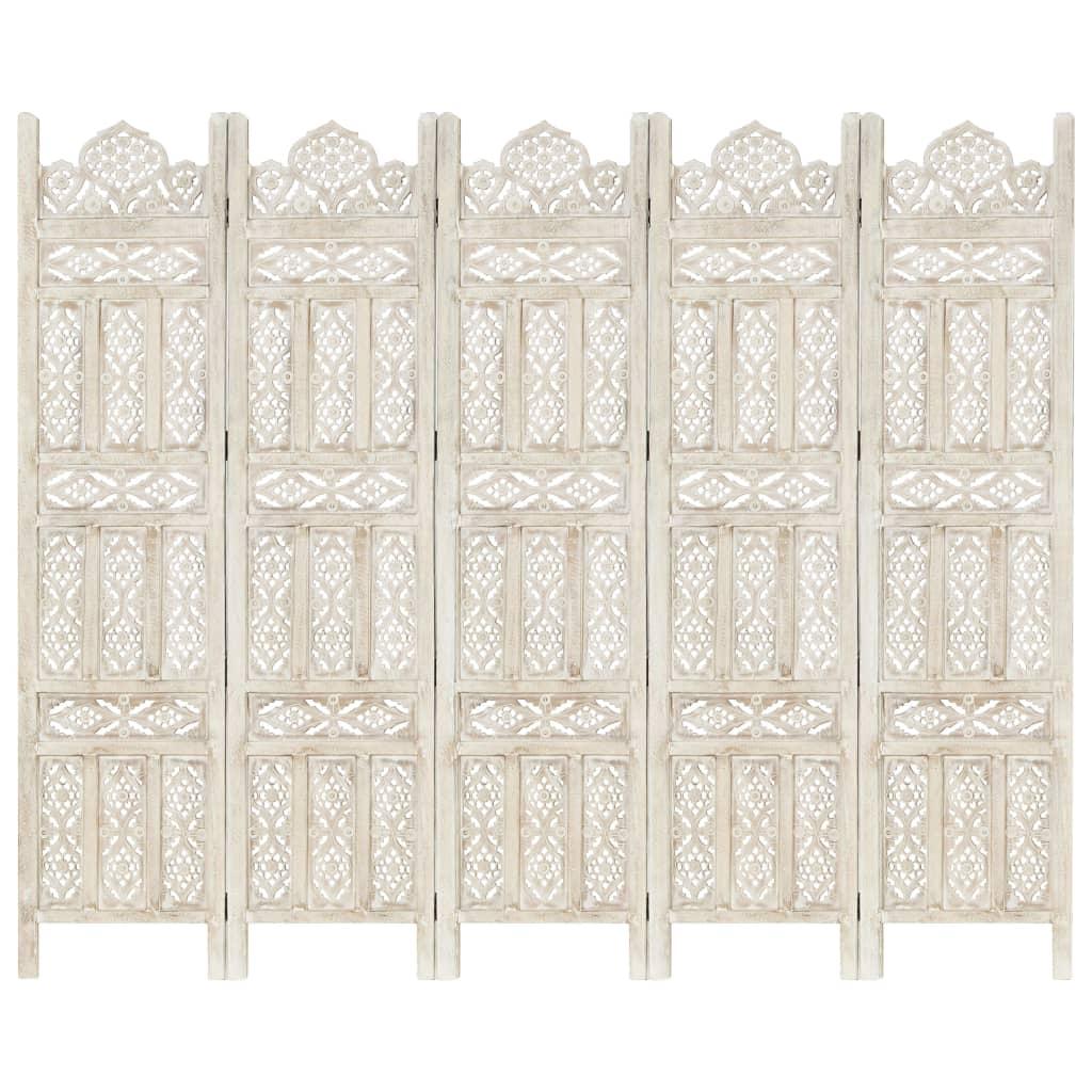 Kamerscherm met 5 panelen handgesneden 200x165 cm mangohout wit