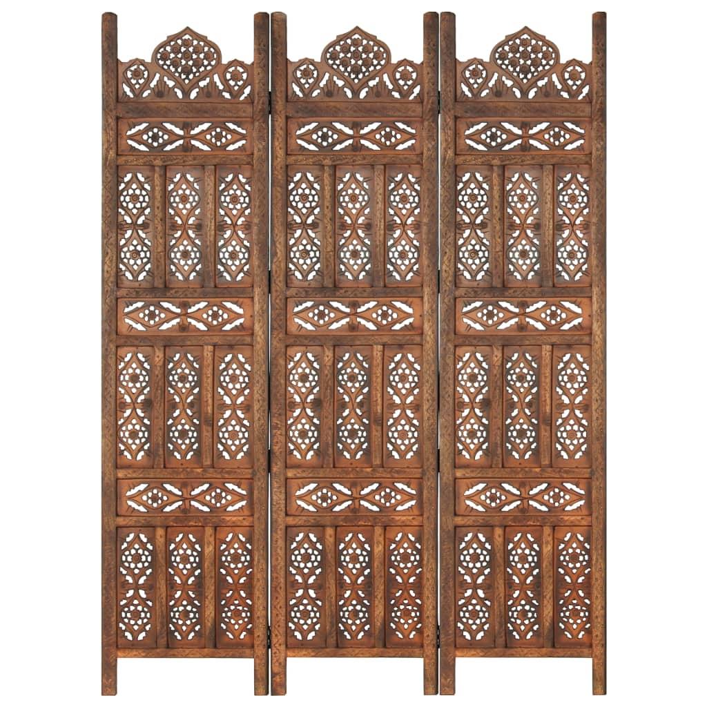 Kamerscherm 3 panelen handgesneden 120x165 cm mangohout bruin