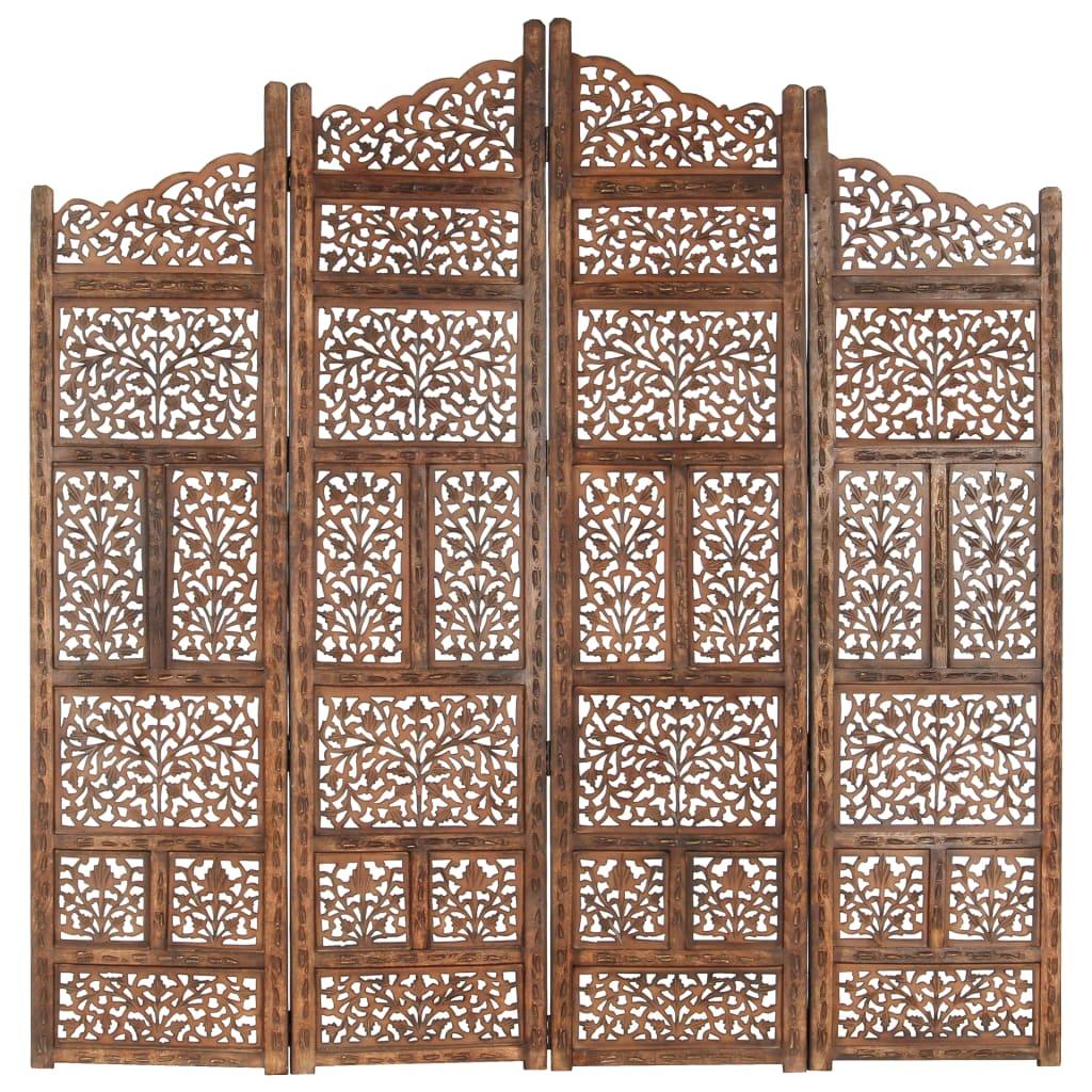 Kamerscherm 4 panelen handgesneden 160x165 cm mangohout bruin