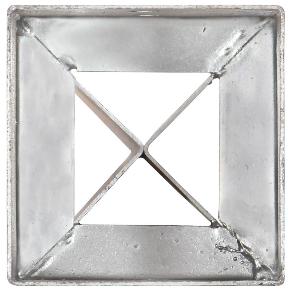Grondpinnen 12 st 10x10x91 cm gegalvaniseerd staal zilverkleurig