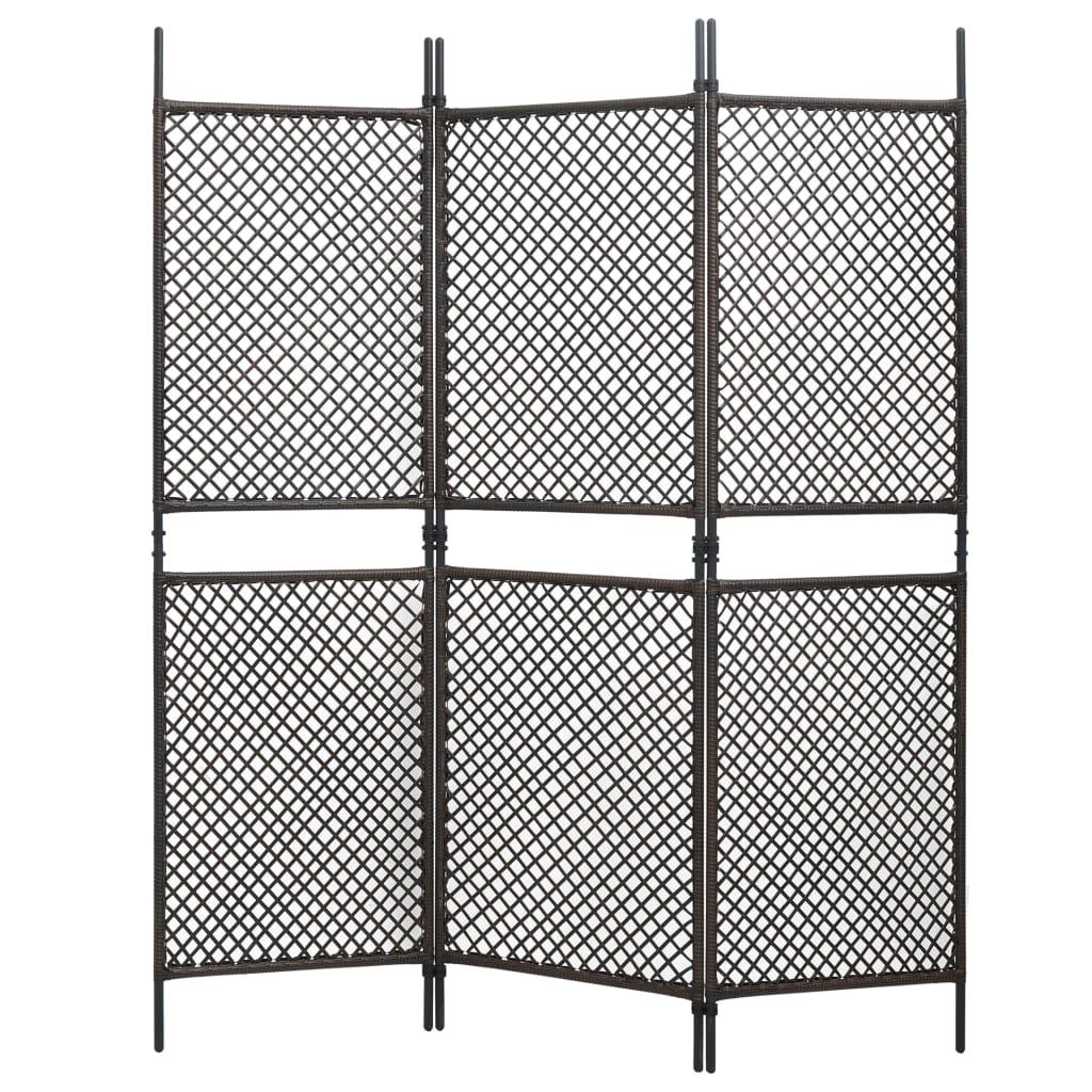 Kamerscherm met 3 panelen 180x200 cm poly rattan bruin