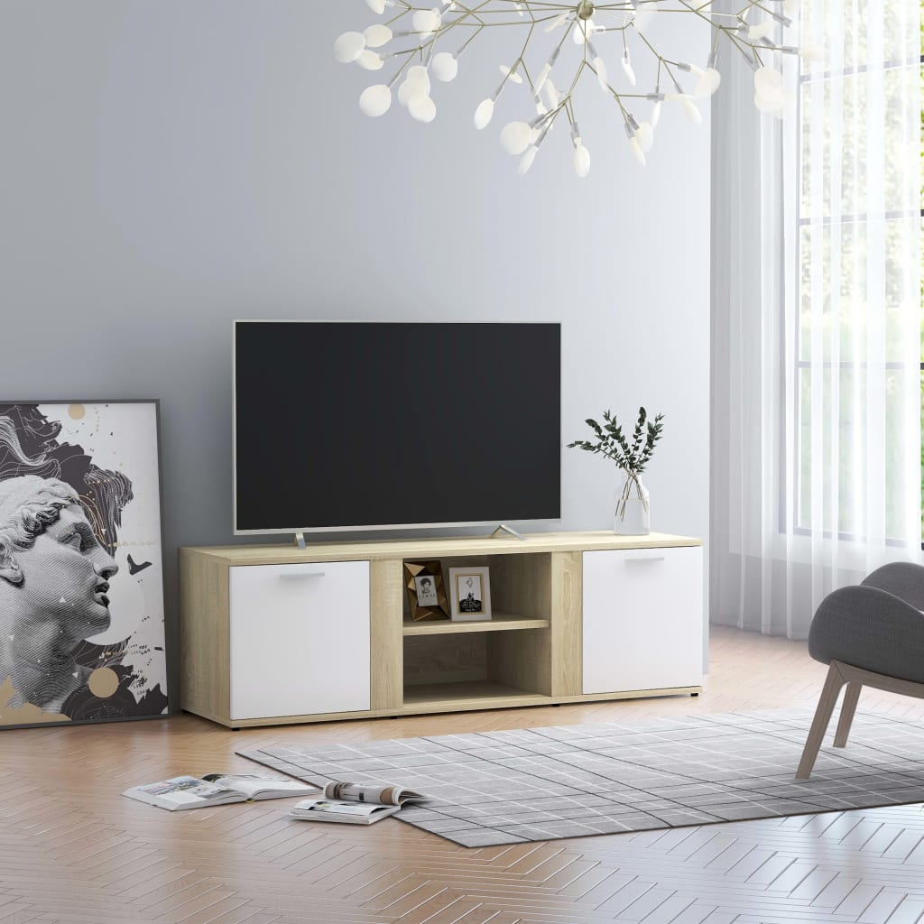 Tv-meubel 120x34x37 cm spaanplaat wit en sonoma eikenkleurig