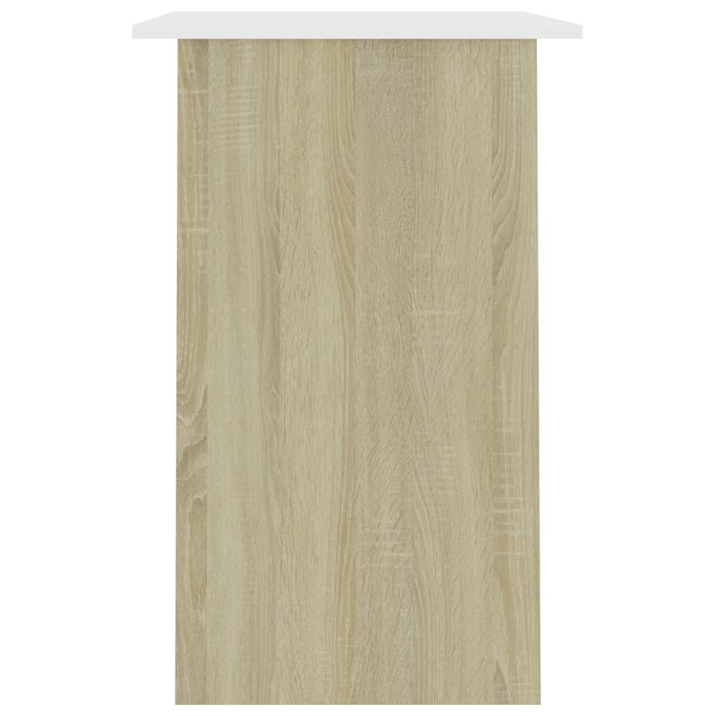 Bureau 90x50x74 cm spaanplaat wit en sonoma eikenkleurig