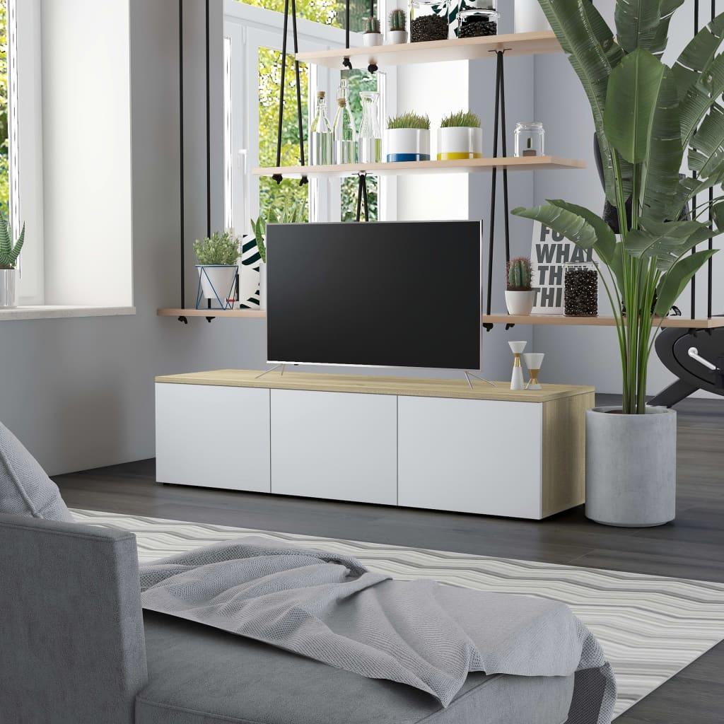 Tv-meubel 120x34x30 cm spaanplaat wit en sonoma eikenkleurig