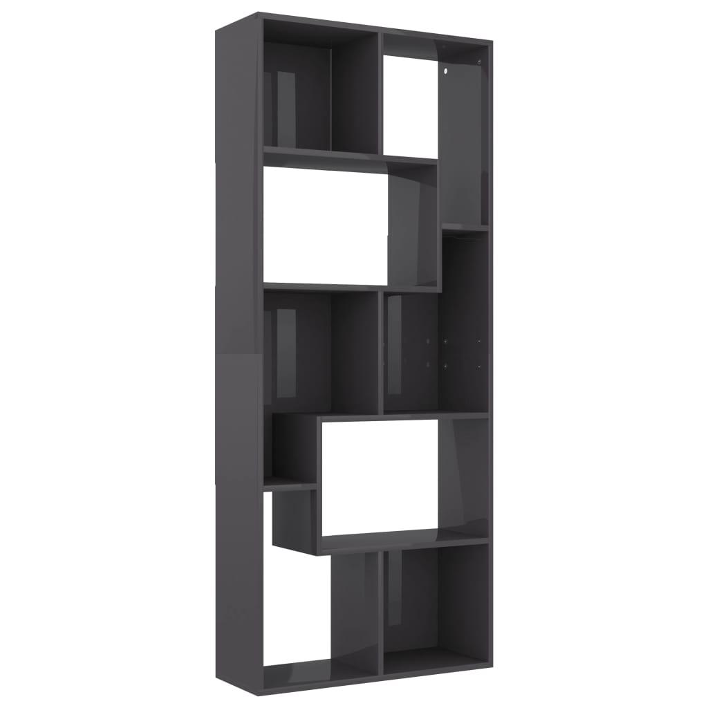 Boekenkast 67x24x161 cm spaanplaat hoogglans grijs