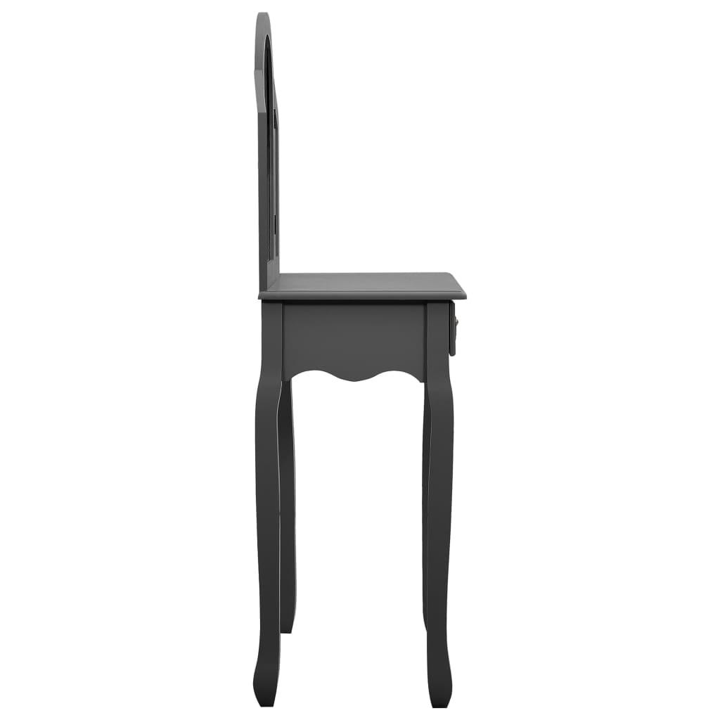Kaptafel met kruk 65x36x128 cm paulowniahout MDF grijs
