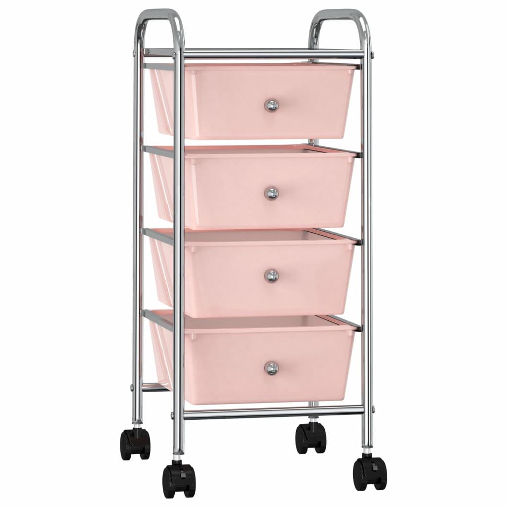 Opbergtrolley met 4 lades mobiel kunststof roze
