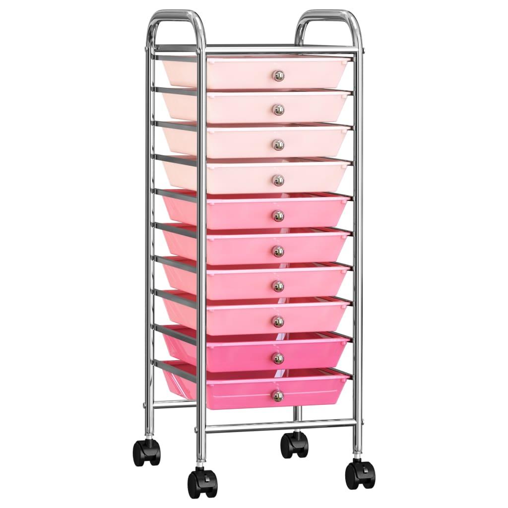 Opbergtrolley met 10 lades mobiel kunststof ombre roze