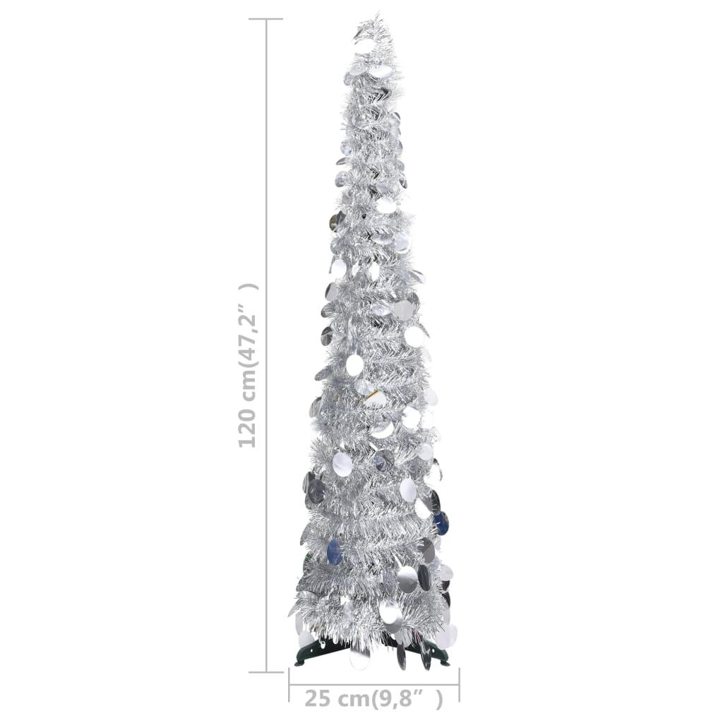 Kunstkerstboom pop-up 120 cm PET zilverkleurig