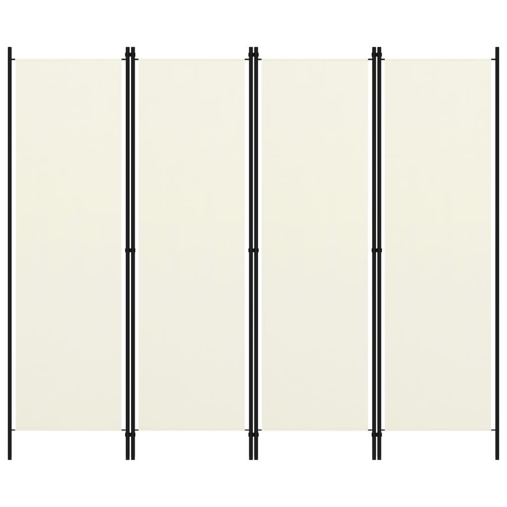 Kamerscherm met 4 panelen 200x180 cm crmewit