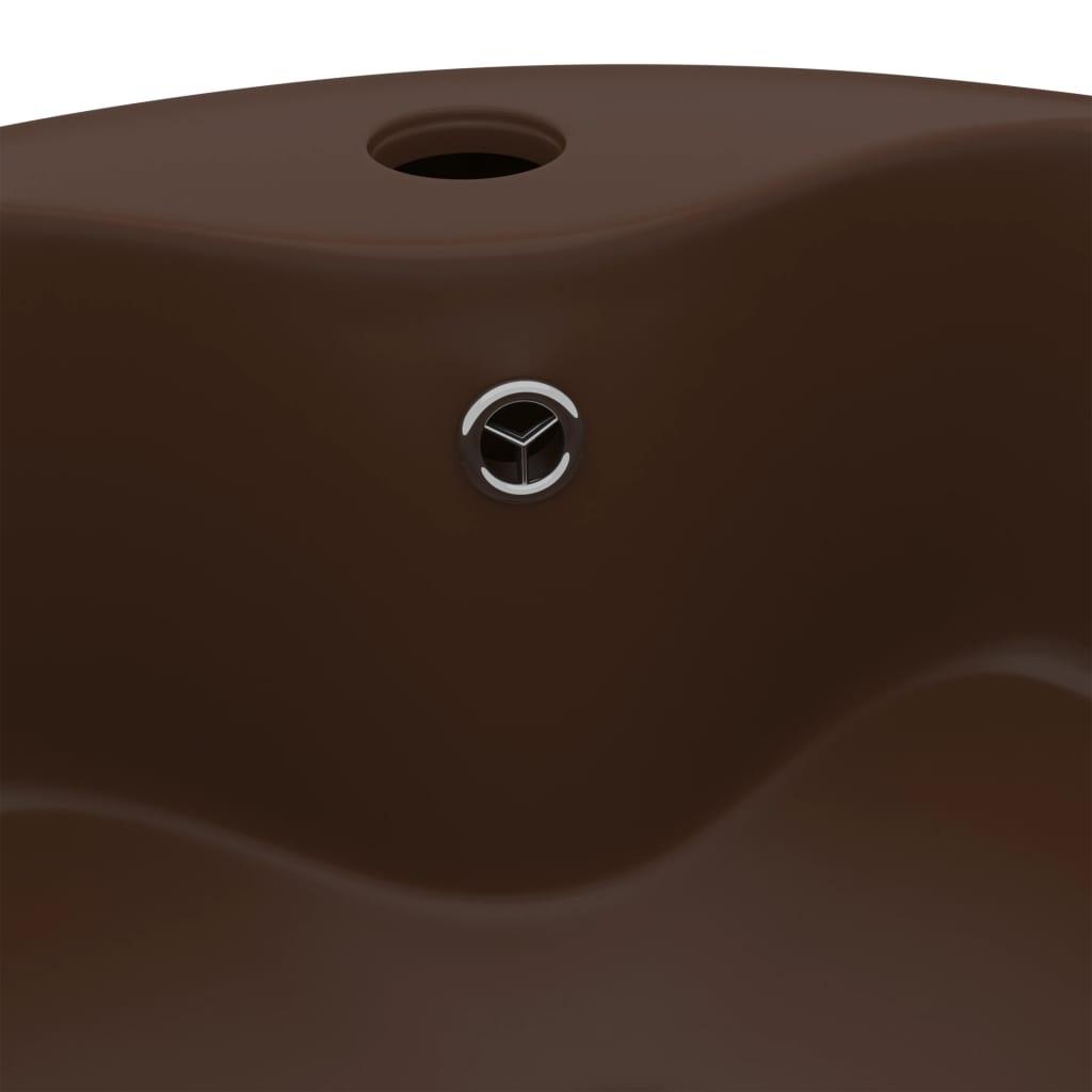 Wastafel met overloop 36x13 cm keramiek mat donkerbruin