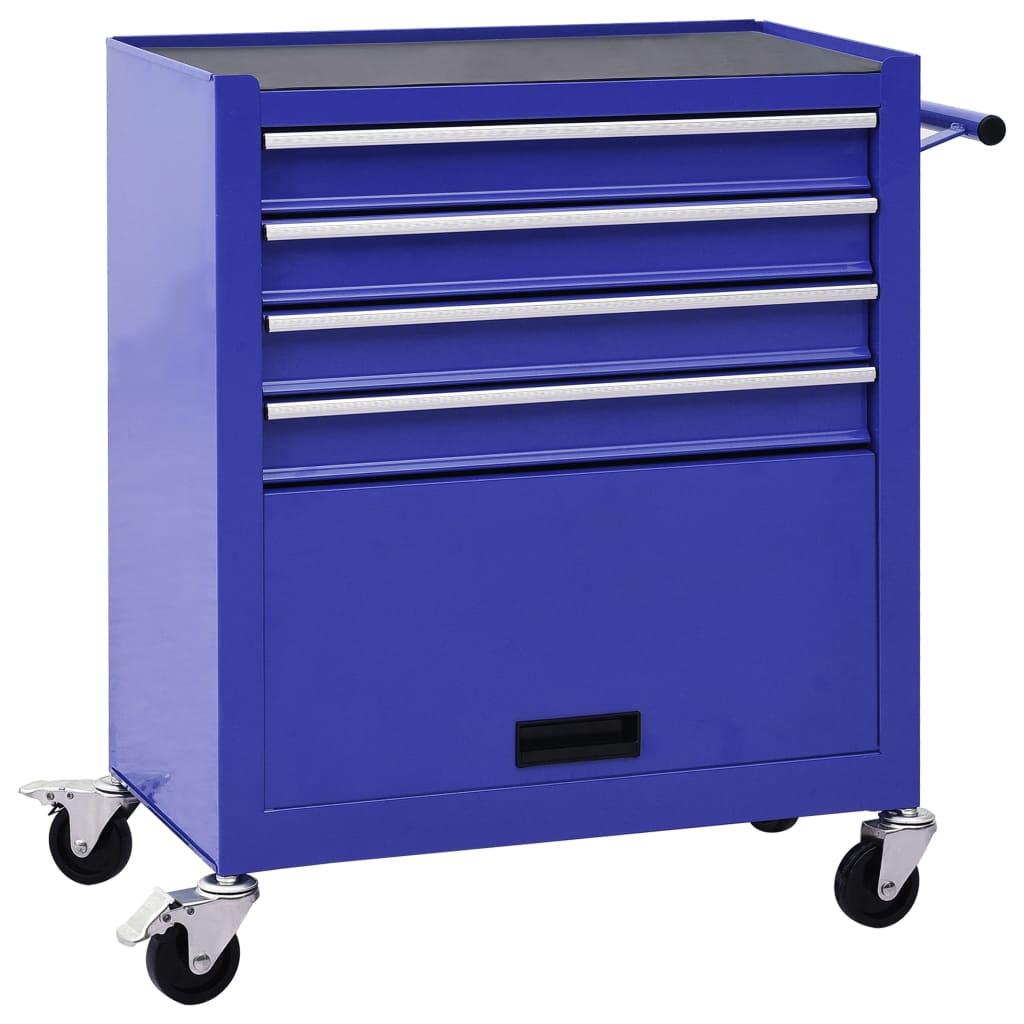 Gereedschapswagen met 4 lades staal blauw