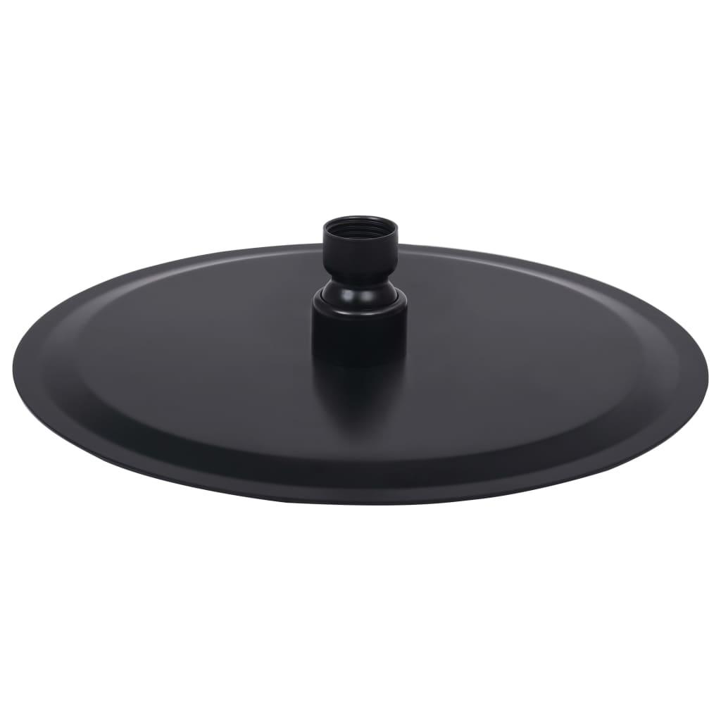 Regendouchekop rond 20 cm roestvrij staal zwart