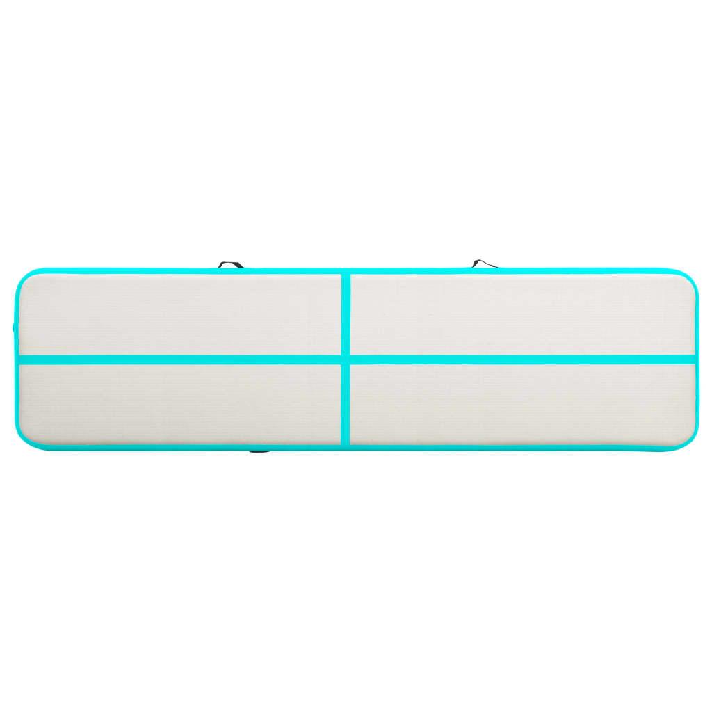 Gymnastiekmat met pomp opblaasbaar 800x100x15 cm PVC groen