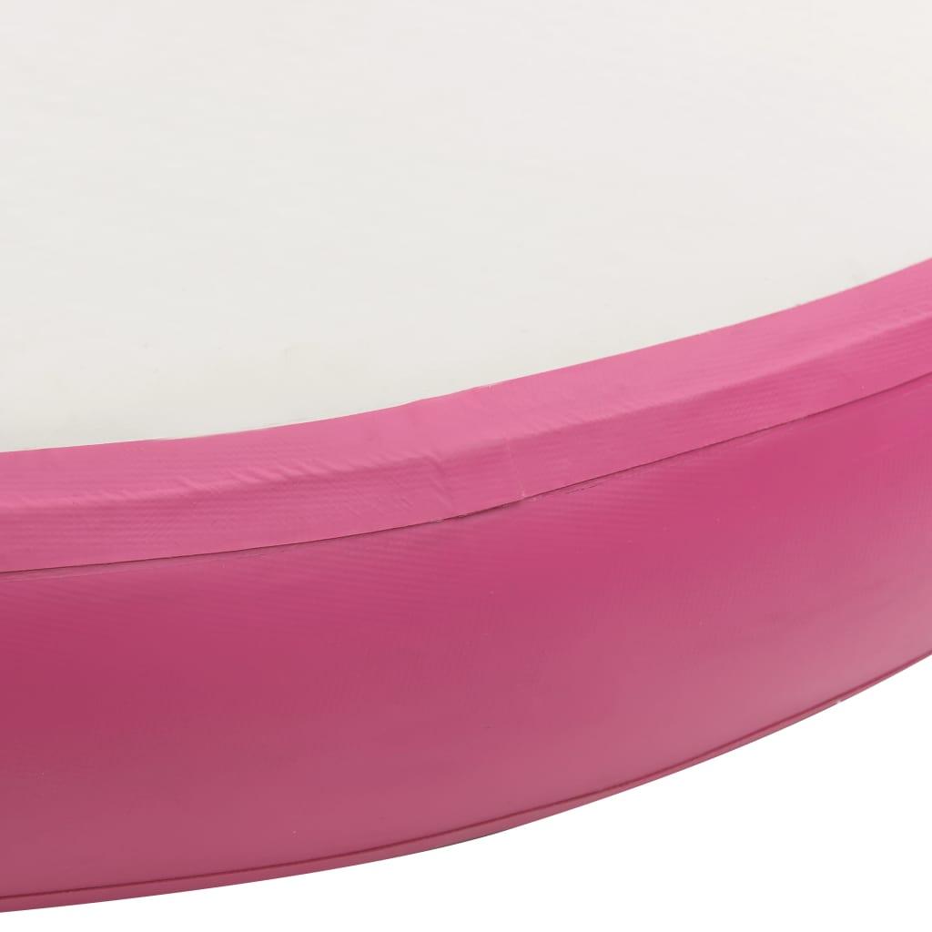 Gymnastiekmat met pomp opblaasbaar 100x100x20 cm PVC roze