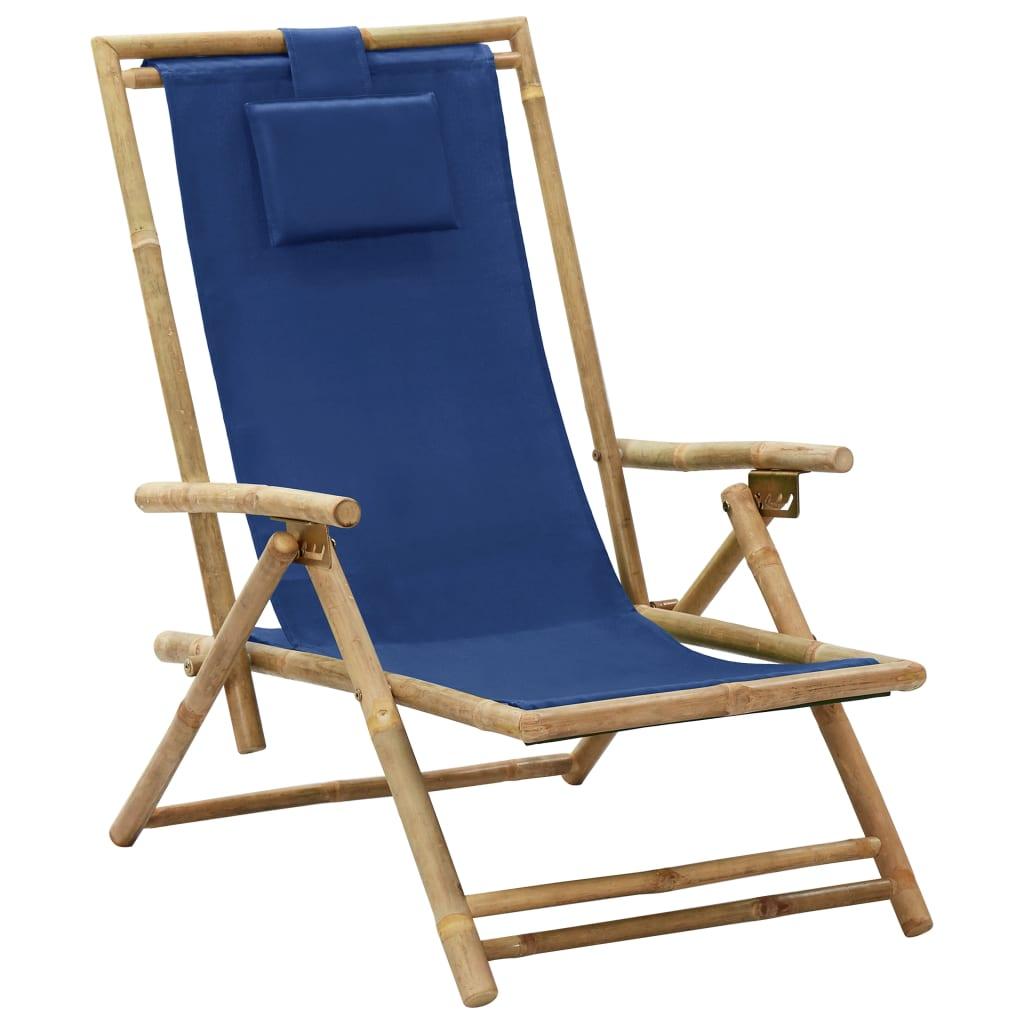 Relaxstoel verstelbaar bamboe en stof marineblauw